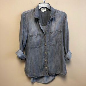Cloth & Stone Chambray button down gray shirt S